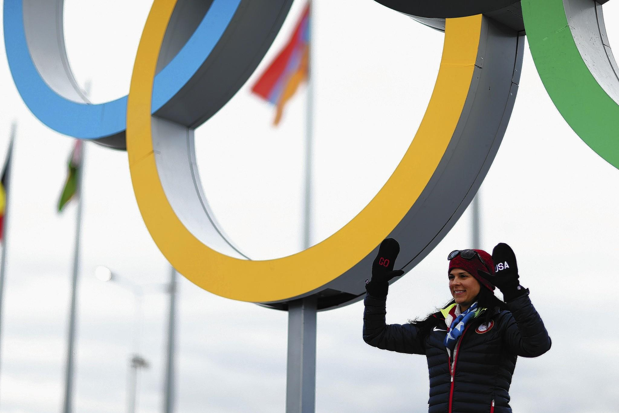 SOCHI, RUSSIA - FEBRUARY 05: Speed skater Brittany Bowe of the United States poses in front of the Olympic rings ahead of the Sochi 2014 Winter Olympics at the Olympic Park on February 5, 2014 in Sochi, Russia. (Photo by Clive Mason/Getty Images) ** OUTS - ELSENT, FPG, TCN - OUTS * NM, PH, VA if sourced by CT, LA or MoD **