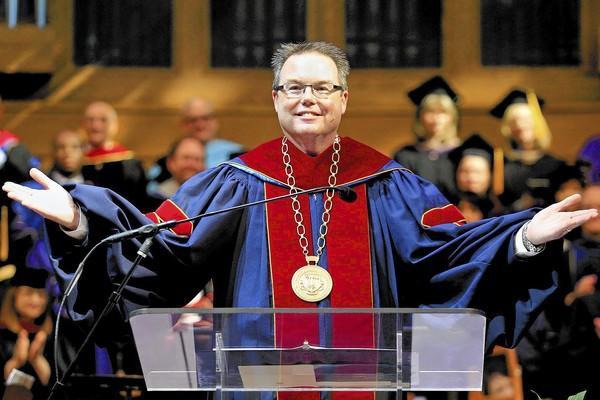 Michael J. Beals, Ph.D., takes the podium as Vanguard University's 10th president during an inauguration ceremony at St. Andrews Presbyterian Church in Newport Beach on Friday.