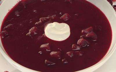 Roasted cranberry borscht