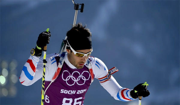 Martin Fourcade of France skis during a biathlon training session at the Laura Centre in Rosa Khutor before the start of the 2014 Sochi Olympic Winter Games.
