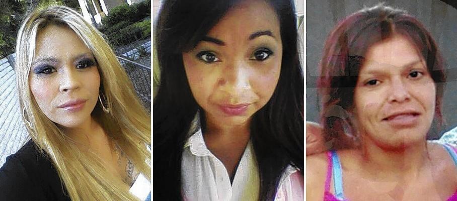 Missing since last fall are, from left, Martha Anaya, Kianna Jackson and Monique Vargas.