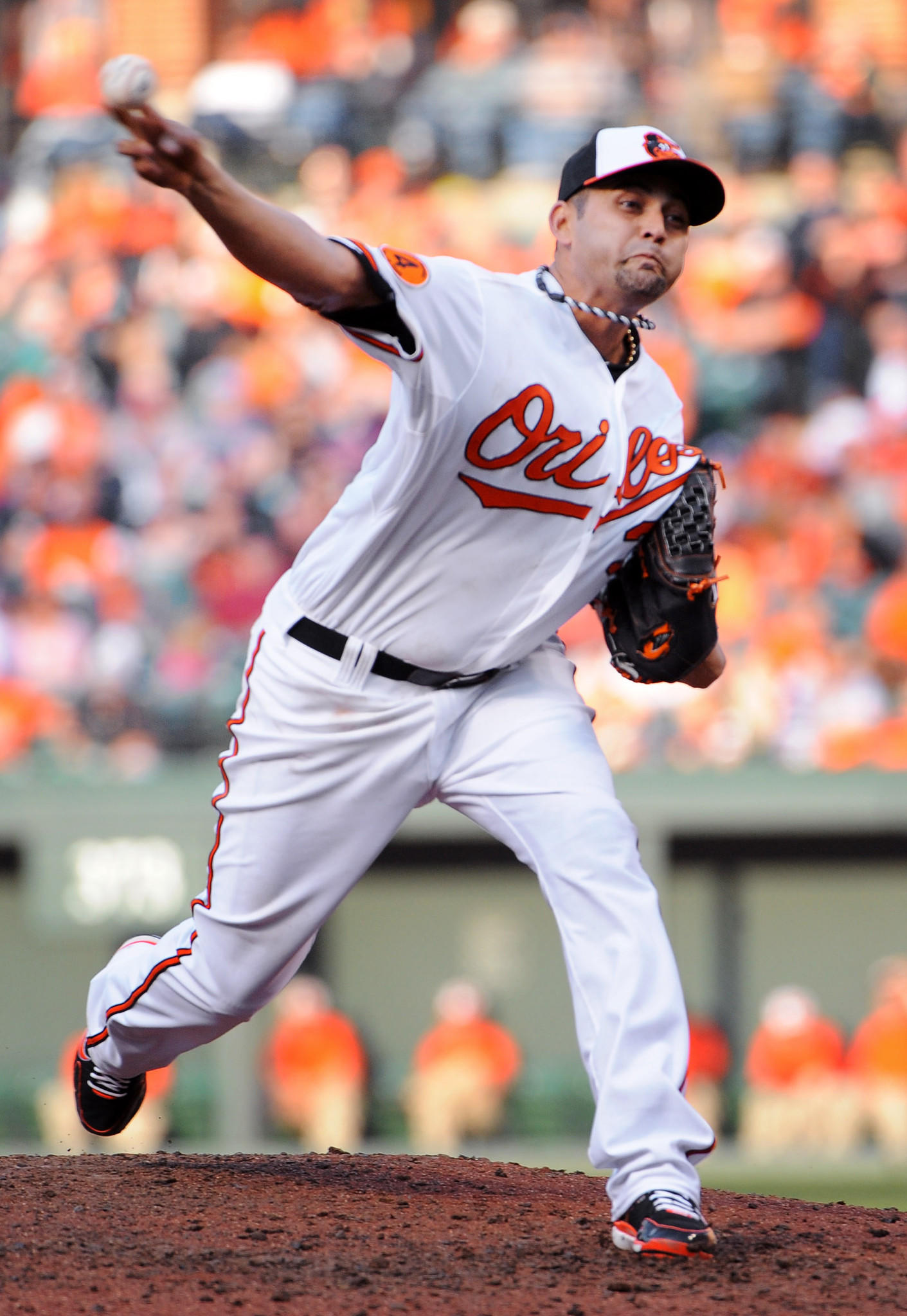 Baltimore, MD--4/5/13-- Orioles pitcher Luis Ayala pitched in the eighth inning against the Twins. Ayala is the winning pitcher as the Orioles defeated the Twins by score of 9 to 5 on their home opener at Oriole Park at Camden Yards. Photo by: Kenneth K. Lam/Baltimore Sun DSC