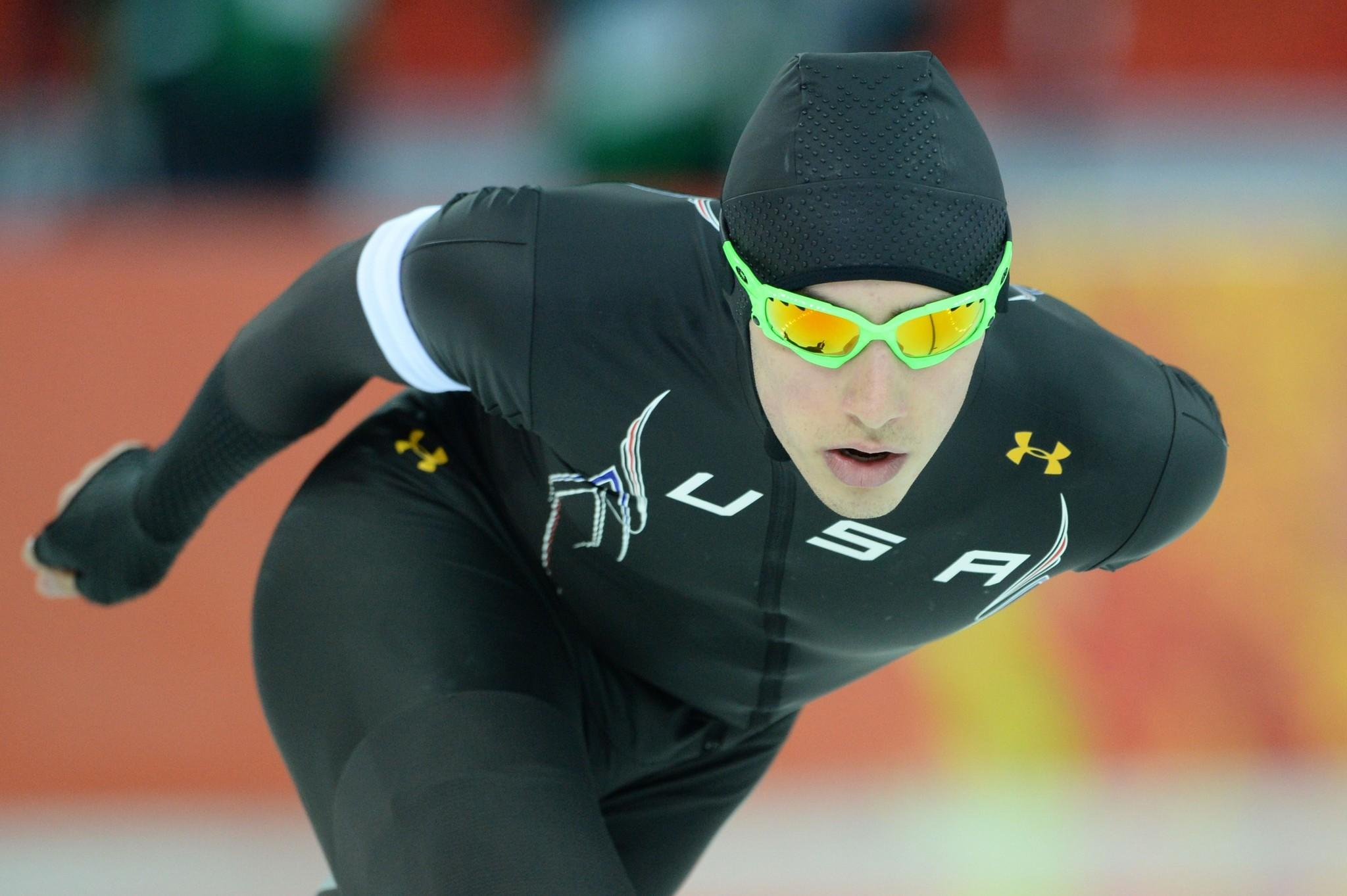 Emery Lehman competes in the Men's Speedskating 5,000 meters at the Adler Arena during the 2014 Sochi Winter Olympics.