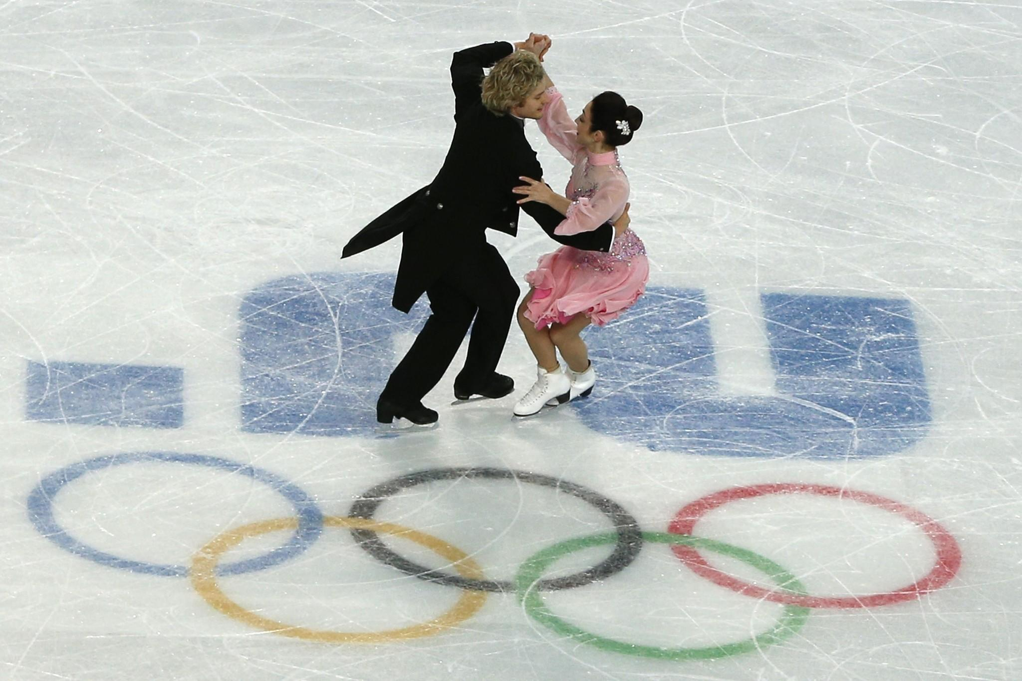 Meryl Davis and Charlie White perform during training at the Iceberg Skating Palace.