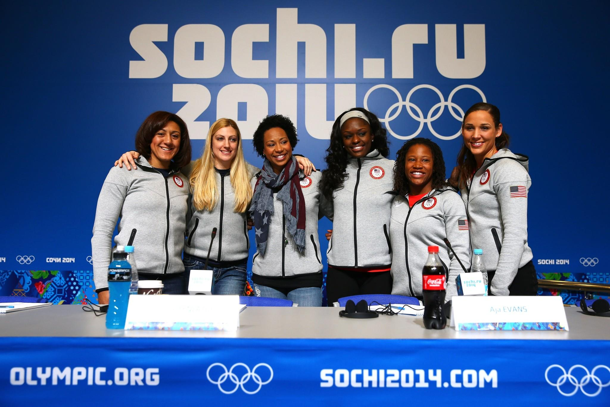 Elana Meyers (from left), Jamie Greubel, Jazmine Fenlator, Aja Evans, Lauryn Williams and Lolo Jones of the United States attend a Women's Bobsleigh team news conference.