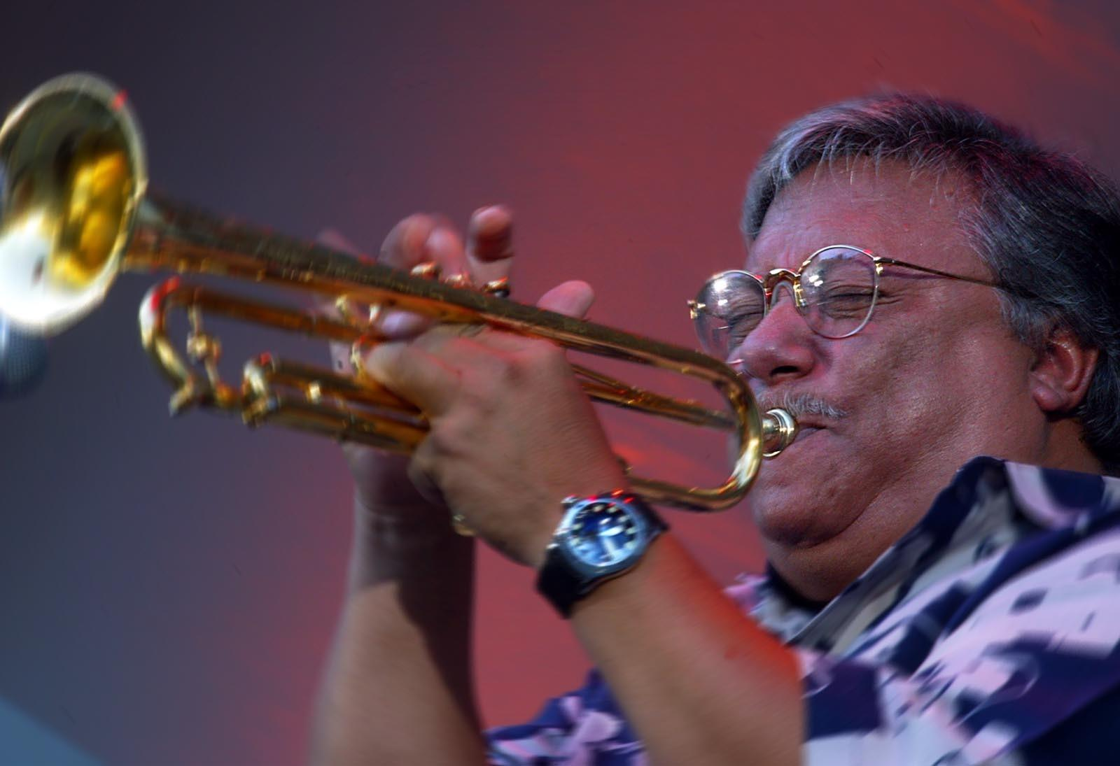 File Photo: Arturo Sandoval performs in June 2002, during the 24th Annual Playboy Jazz Festival at the Hollywood Bowl.