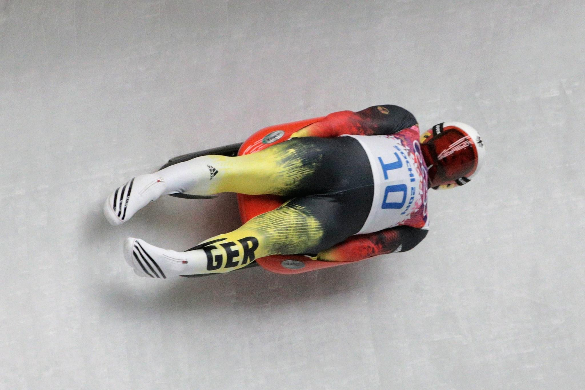 Felix Loch of Germany makes a run during the Luge Men's Singles.