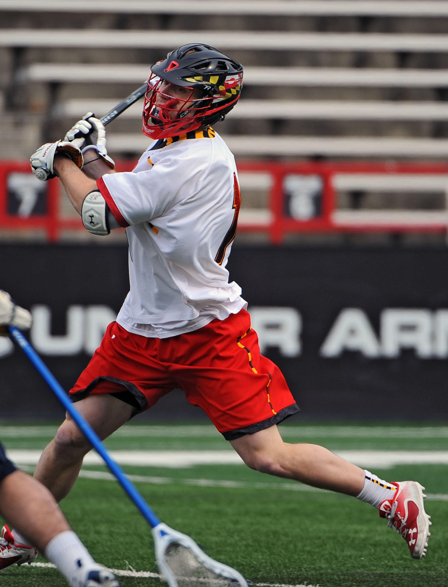 Maryland's Mike Chanenchuk winds up for a shot against Mount St. Mary's, scoring in the first quarter.
