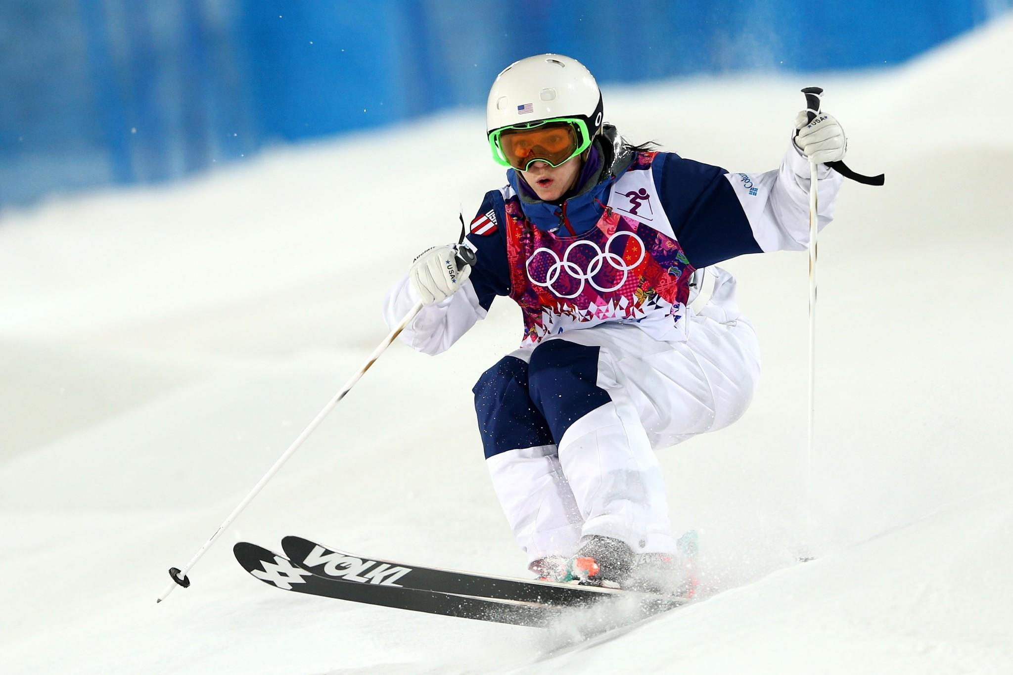 Eliza Outtrim finished sixth in the women's moguls on Saturday at the Sochi Winter Olympics at Rosa Khutor Extreme Park.
