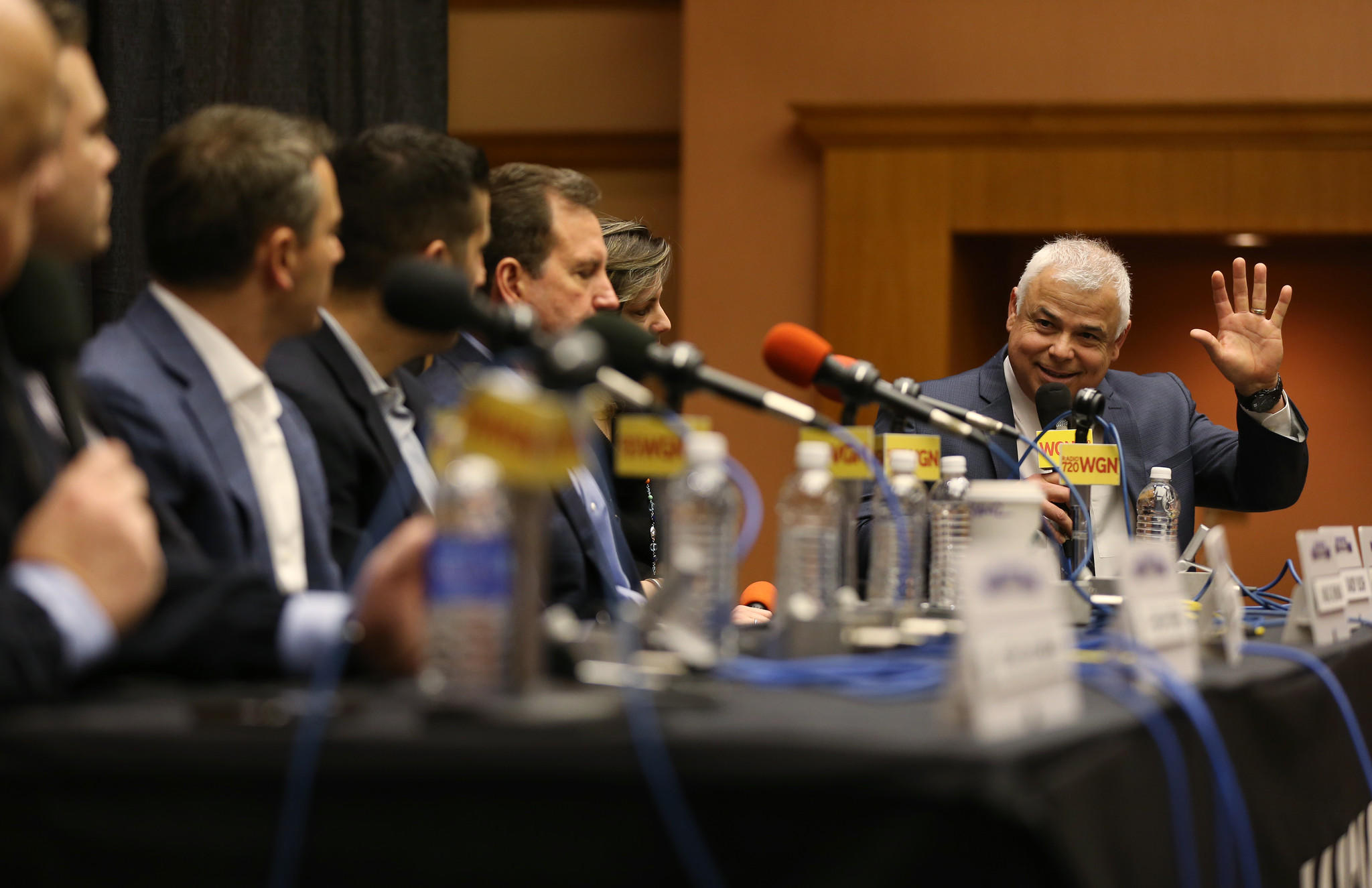"Cubs Manager Rick Renteria, right, gestures while answering questions at the ""Meet Cubs Baseball Management"" panel during the 2014 Cubs Convention at the Sheraton Hotel, 301 E. Water St., Saturday, Jan. 18, 2014, in Chicago."