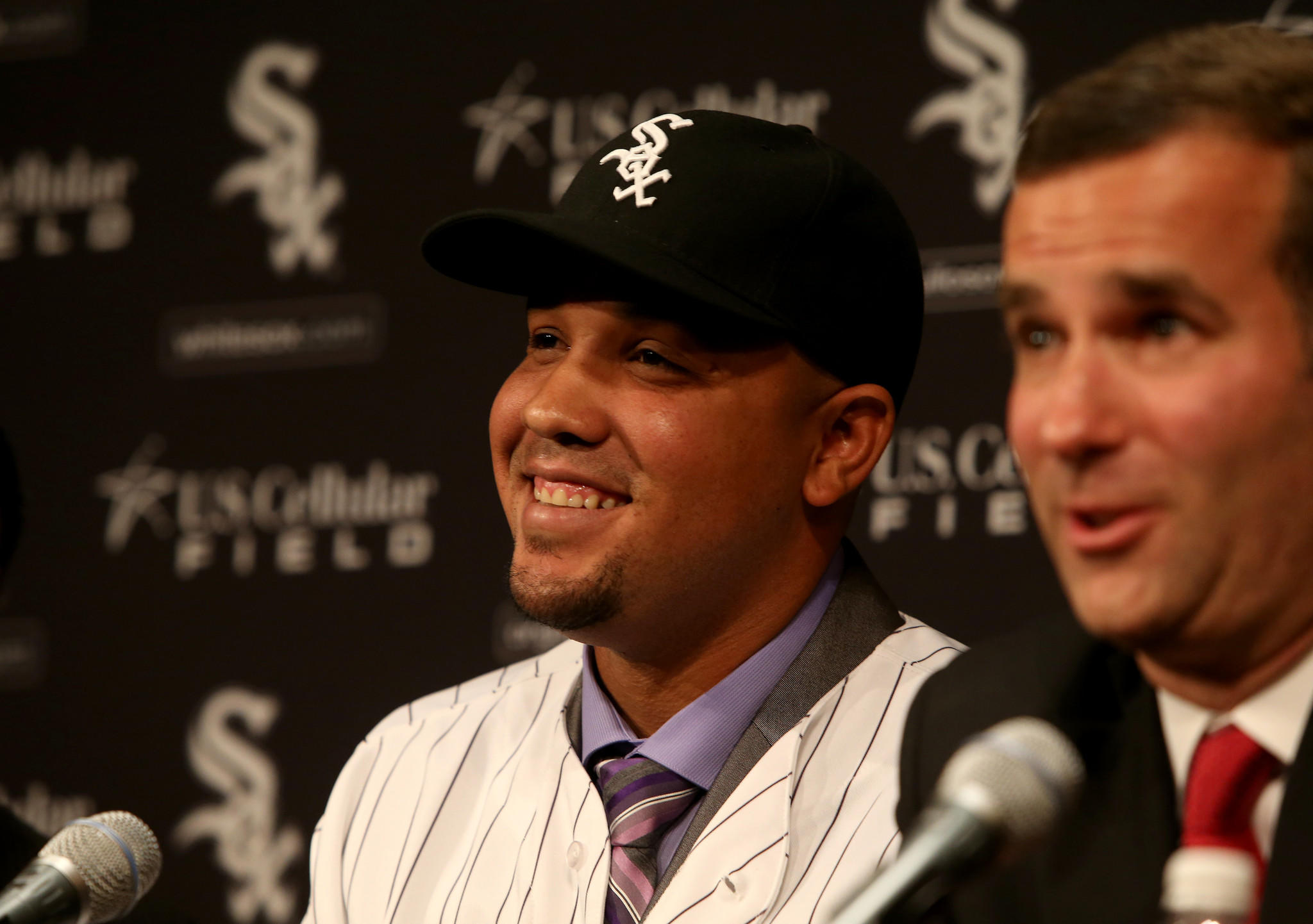 Chicago White Sox Sox general manager Rick Hahn officially announces the signing of Cuban slugger Jose Abreu, a 26-year-old first baseman at a news conference Tuesday Oct. 29, 2013, at U.S. Cellular Field.