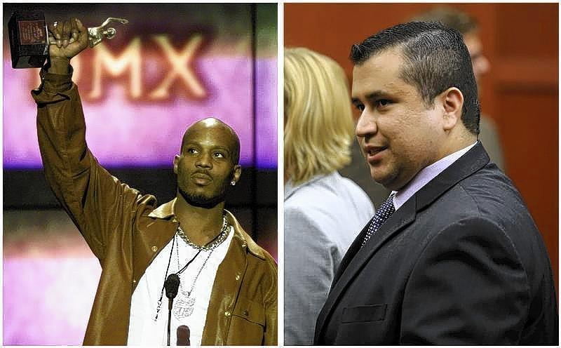 A combination photo shows rapper DMX (L) at the 14th annual Soul Train Music Awards in Los Angeles, California on March 4, 2000 and George Zimmerman (R) leaves the courtroom a free man after being found not guilty in the 2012 shooting death of Trayvon Martin at the Seminole County Criminal Justice Center in Sanford, Florida.