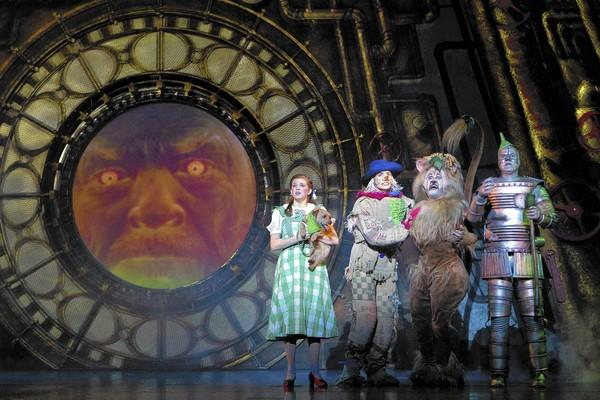 "Danielle Wade as Dorothy, Jamie McKnight as Scarecrow, Lee MacDougall as Lion and Mike Jackson as Tin Man in ""The Wizard of Oz,"" coming to Segerstrom Center for the Arts."