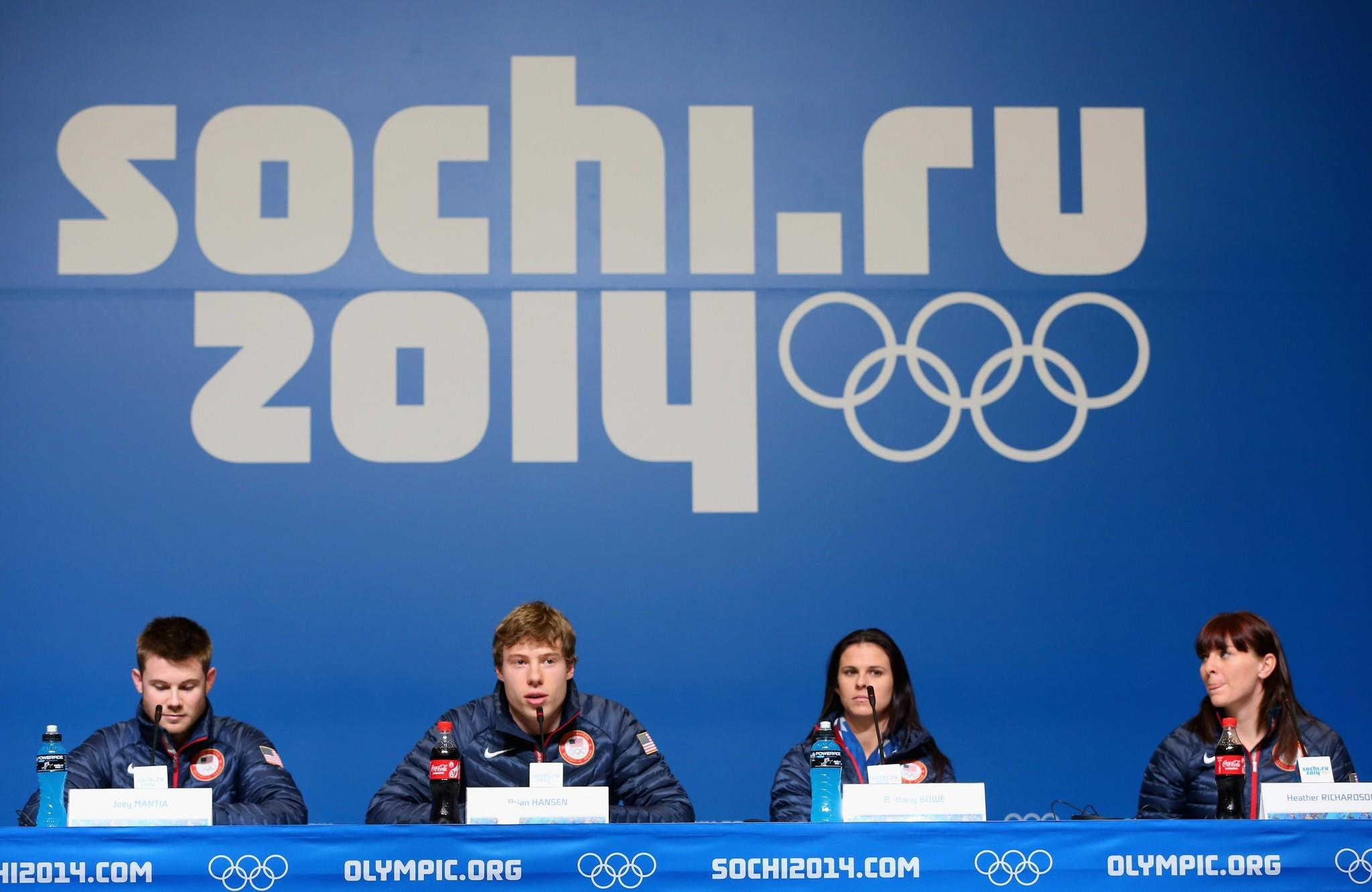 Joey Mantia, Brian Hansen, Brittany Bowe and Heather Richardson of the USA speed skating team speak at a press conference ahead of the Sochi 2014 Winter Olympics at the Main Press Center (MPC) on February 6, 2014 in Sochi, Russia.
