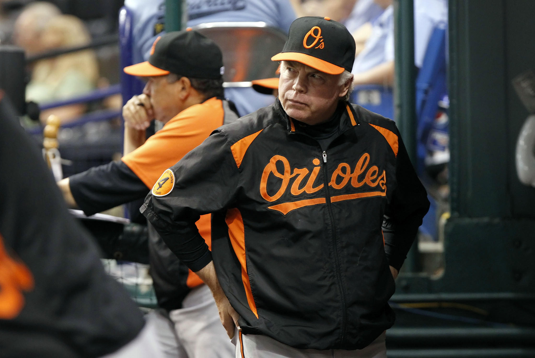 Orioles manager Buck Showalter, shown in the dugout during a game against Tampa Bay Rays last September, hasn't gotten much help for the Orioles' roster this offseason.