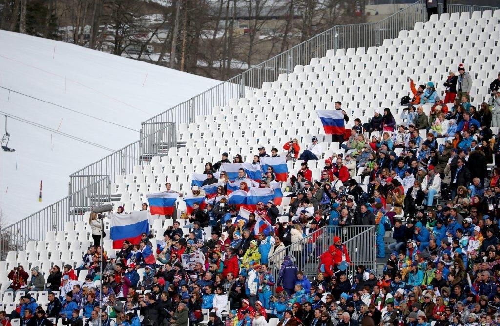 There were plenty of empty seats at the start of the men's downhill in Sochi.