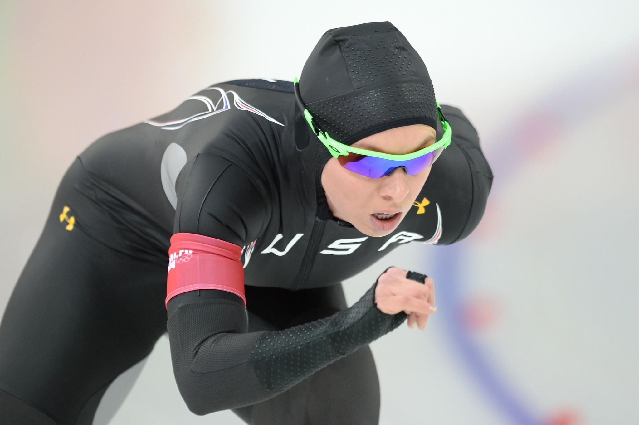 Jilleanne Rookard competes in the Women's Speedskating 3000 meters.
