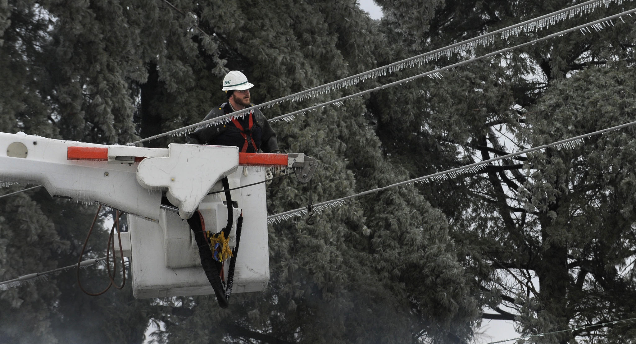 BGE workers remove an ice covered tree limb from power lines along Fallson Road in Fallston Wednesday.