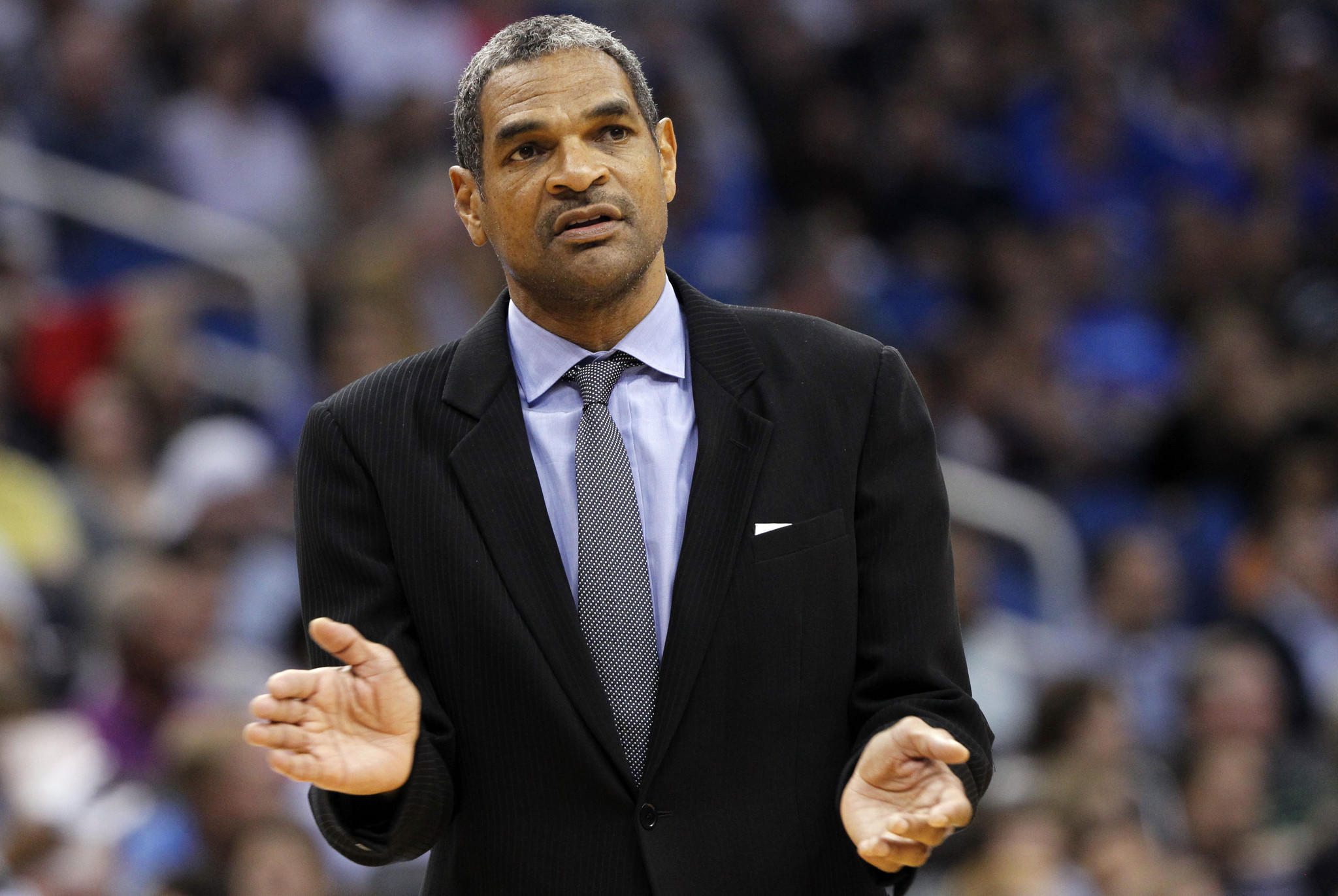 Detroit Pistons head coach Maurice Cheeks reacts from the sidelines against the Orlando Magic during the second quarter at Amway Center.