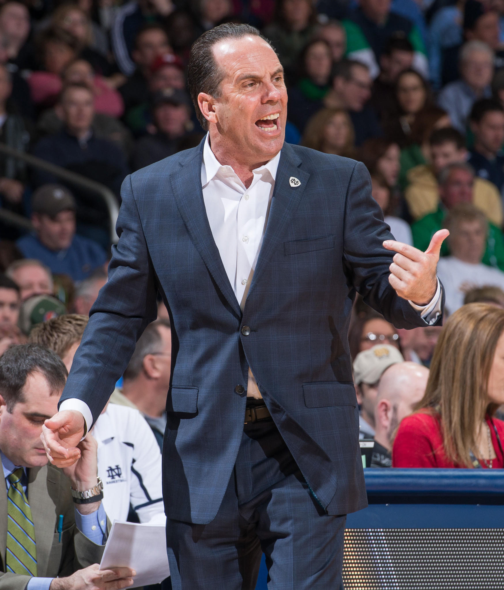 Notre Dame coach Mike Brey yells to his players in the second half against North Carolina.