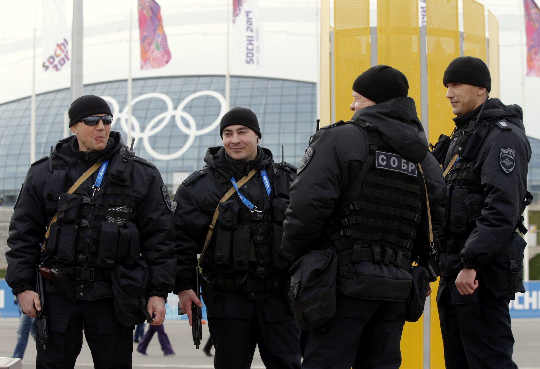 Russian special forces officers in the Olympic Park in Sochi, Russia. at the 2014 Winter Games.