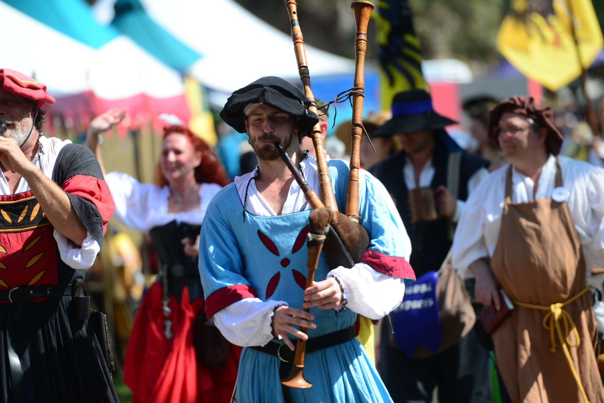 Renaissance Festival photos - Pipes in parade