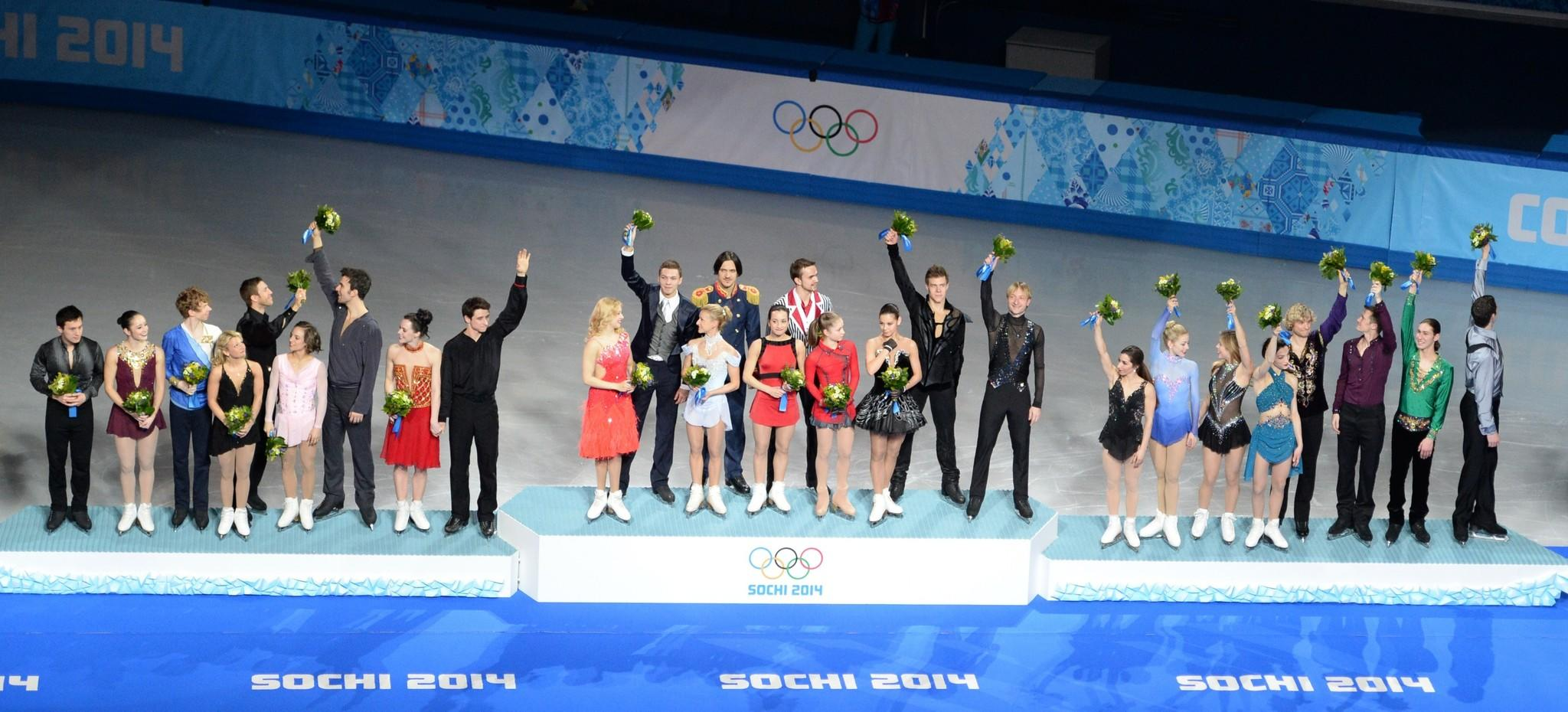 Russia (gold), Canada (silver) and U.S. (bronze) teams celebrate on the podium.