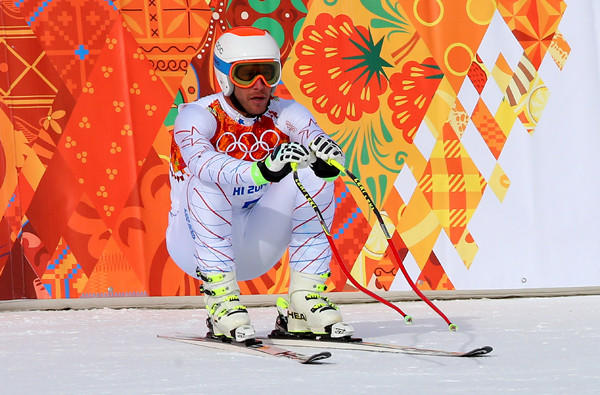U.S. skier Bode Miller waits for his score after his downhill run at the Sochi Olympics on Sunday at Rosa Khutor Alpine Center.