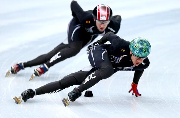American short-track speedskater J.R. Celski leads teammate Chris Creveling during a practice session Iceberg Skating Palace last week.