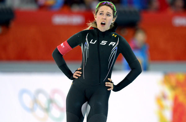 American speedskater Anna Ringsred catches her breath after competing in the 3,000 meters on Sunday at Adler Arena.