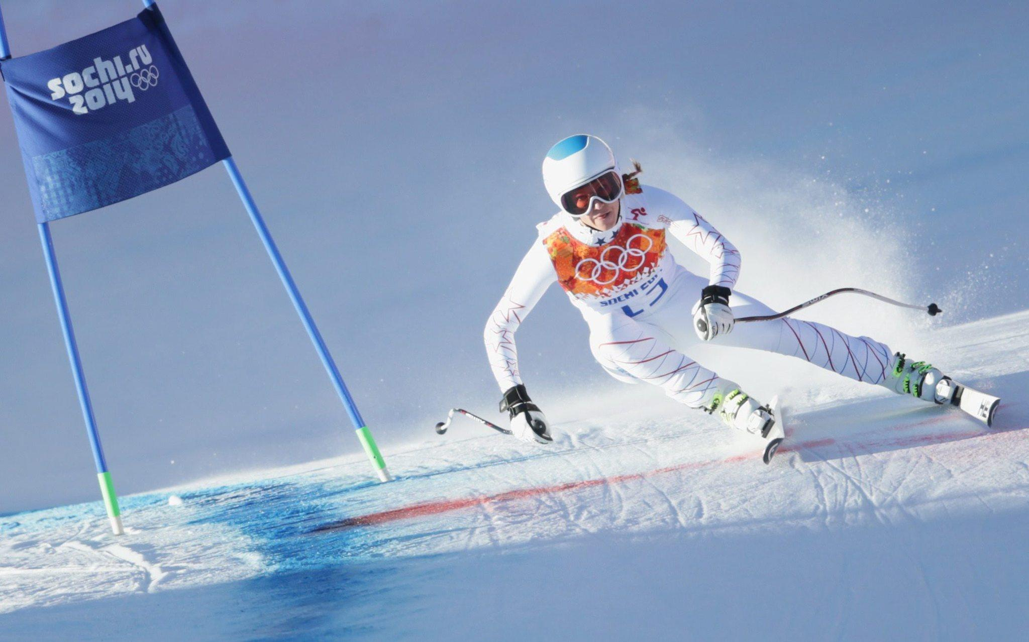 Julia Mancuso during downhill training in Rosa Khutor Alpine Center.