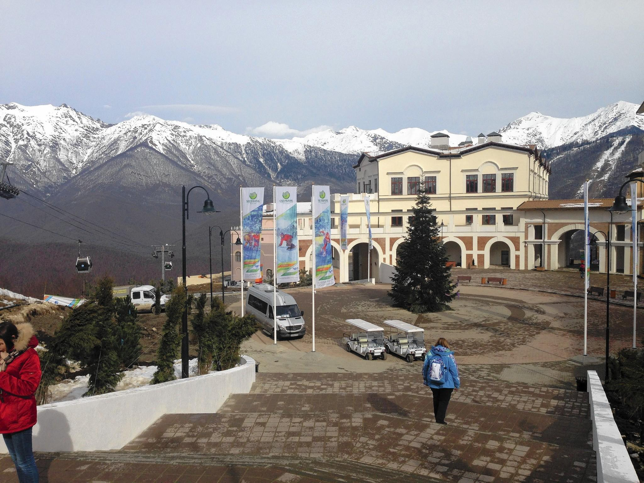 A public square overlooking Gorky Gorod in Krasnaya Polyana near Sochi, Russia, is intended to be a place where Olympic revelers can dance and listen to music, but it has been largely empty since the Games began.