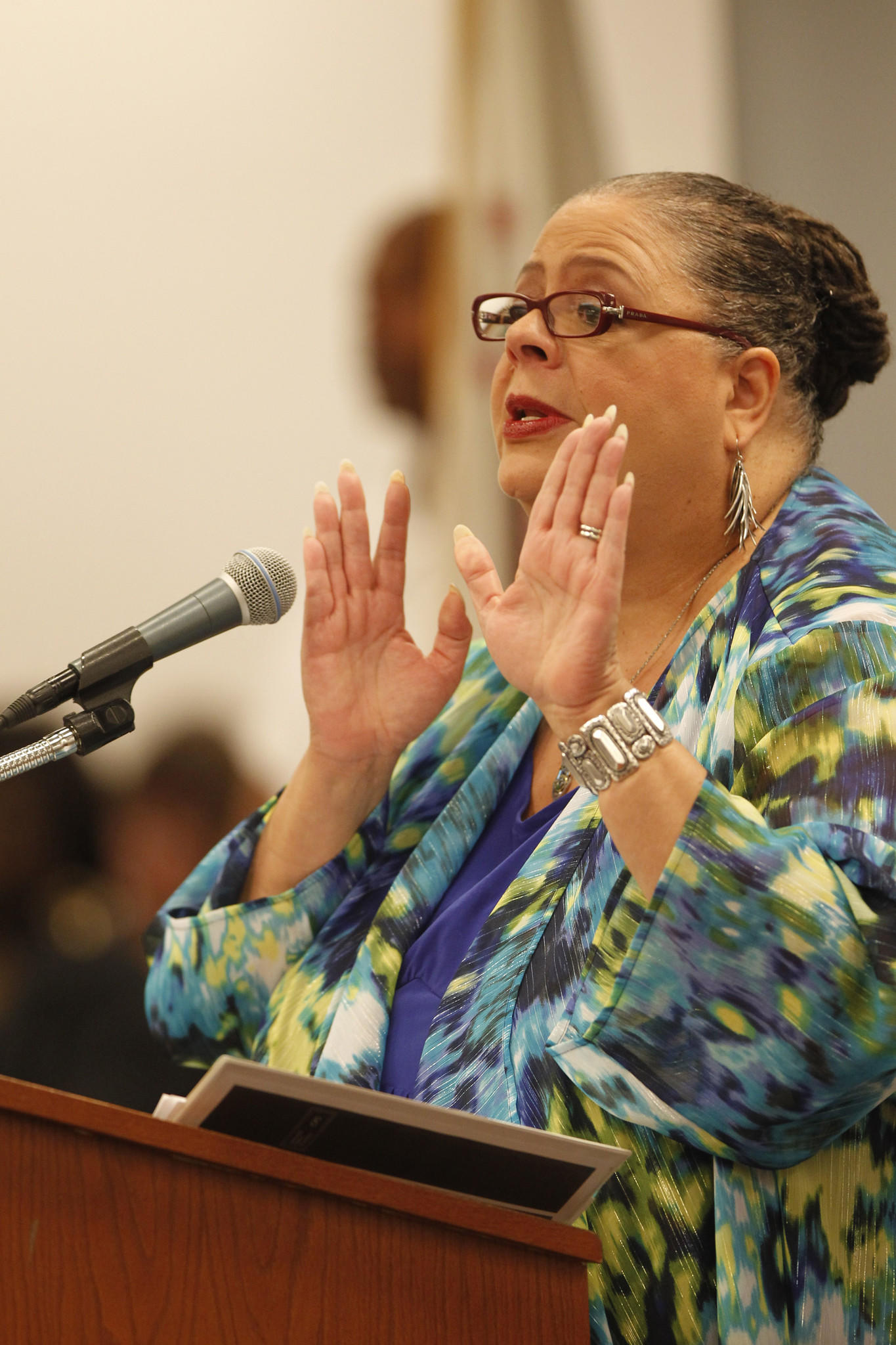 Chicago Teachers Union President Karen Lewis speaks Wednesday, Sept. 25, 2013 at a meeting of the Chicago Board of Education.