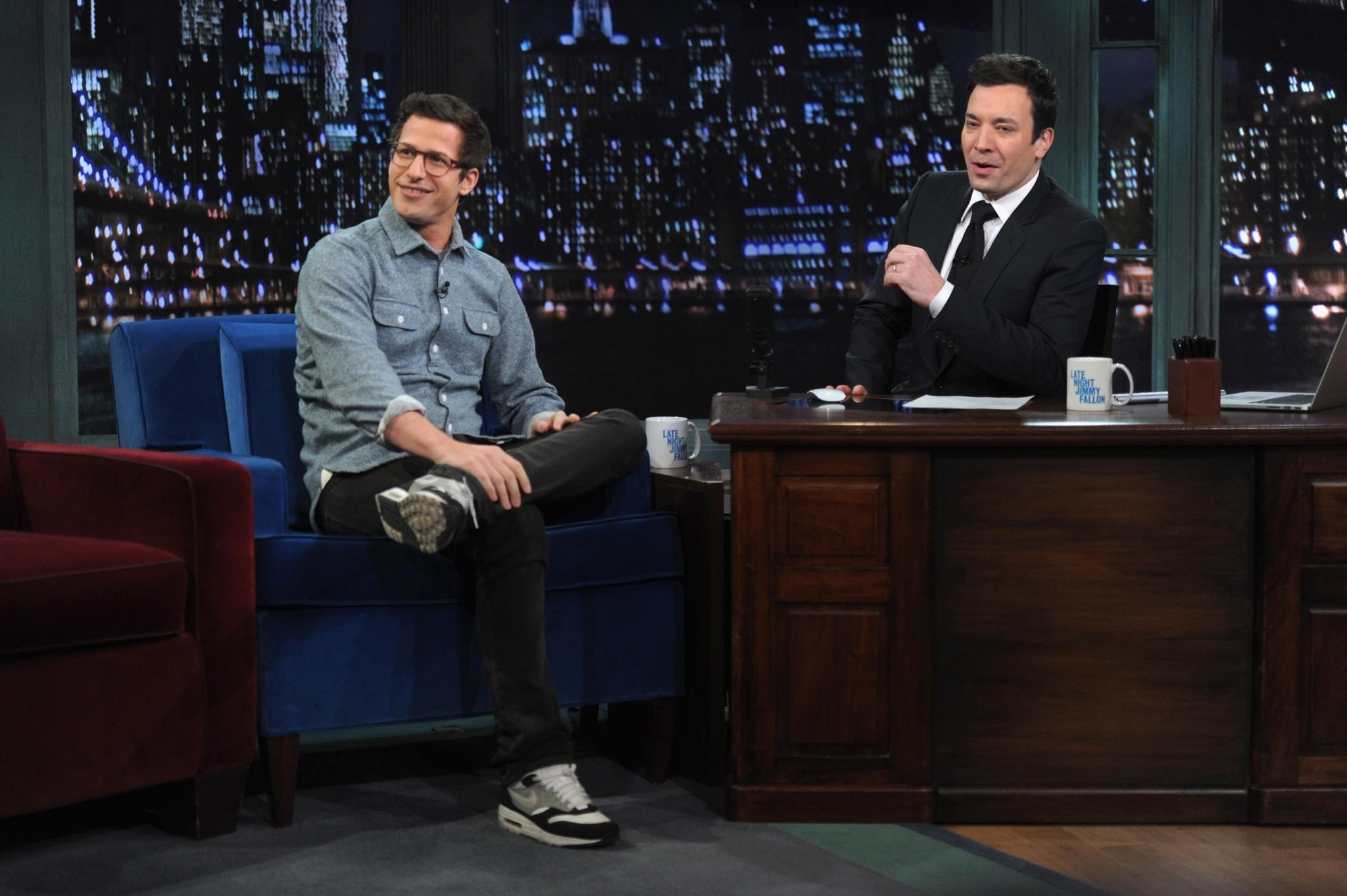 "Andy Samberg Visits ""Late Night With Jimmy Fallon"" at Rockefeller Center."