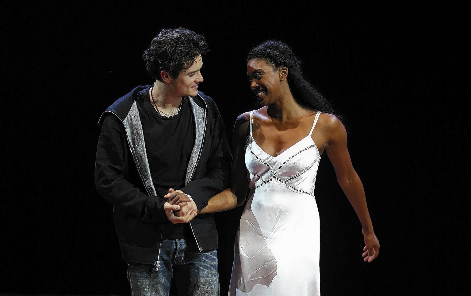 "Orlando Bloom and Condola Rashad in ""Romeo And Juliet."""