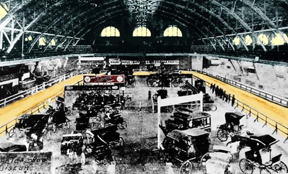 "The wooden track colored yellow in this picture is from the first Chicago Auto Show in 1901. The track was used to ""dispel public apprehensions"" about motor vehicles. It was scrapped in subsequent years to make room for more automobiles."