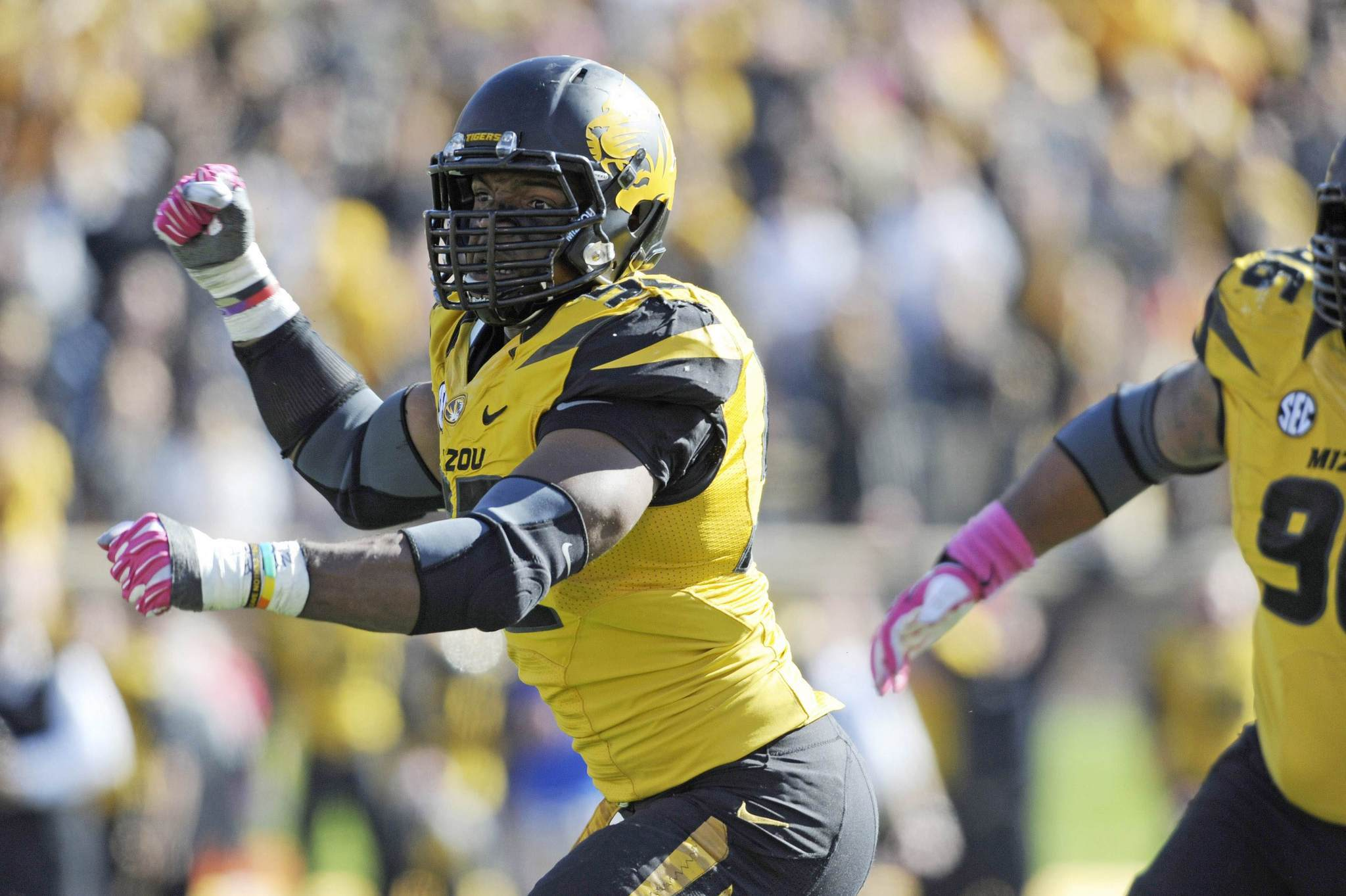 Missouri Tigers defensive lineman Michael Sam (52) celebrates during a game against the Florida Gators last October. Sam, who was the Southeastern Conference defensive player of the year, has announced he is gay.