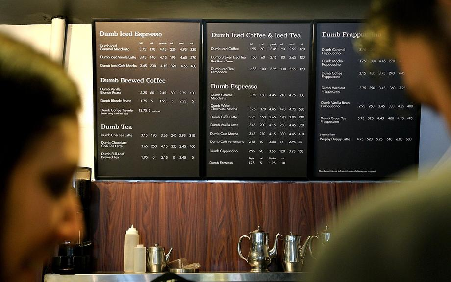 Although the menu lists more than 25 drinks, the baristas are only making regular coffees, lattes and iced coffees with some flavored syrups.