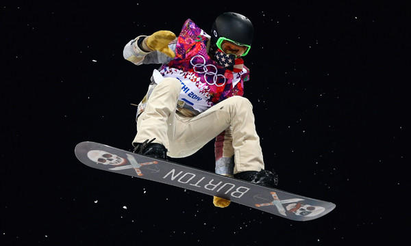 American Shaun White trains on the snowboard halfpipe in preparation for Tuesday's event at Rosa Khutor Extreme Park at the 2014 Sochi Winter Olympic Games.