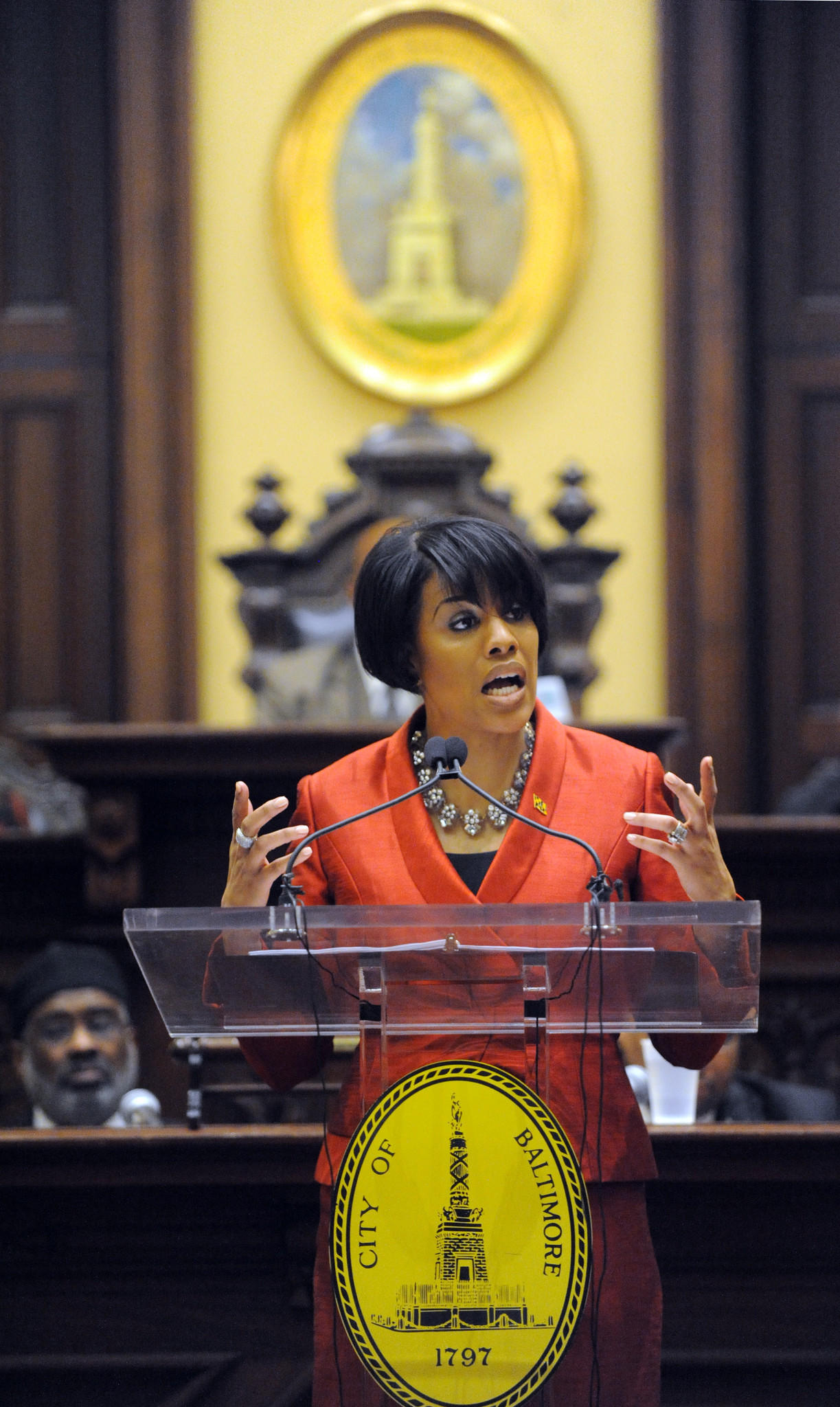 Mayor Stephanie Rawlings-Blake gives the State of the City speech at City Hall.