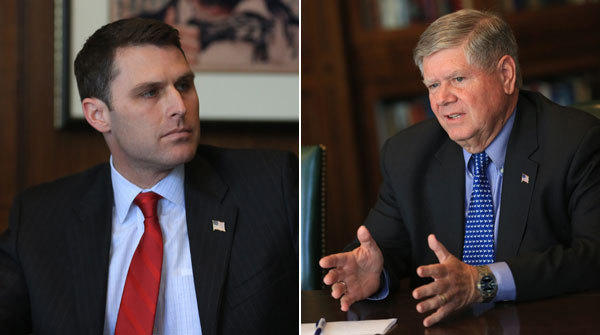 Businessman Doug Truax, left, and State Sen. Jim Oberweis are competing in the Republican U.S. Senate primary. The winner will face longtime Democratic Sen. Dick Durbin.