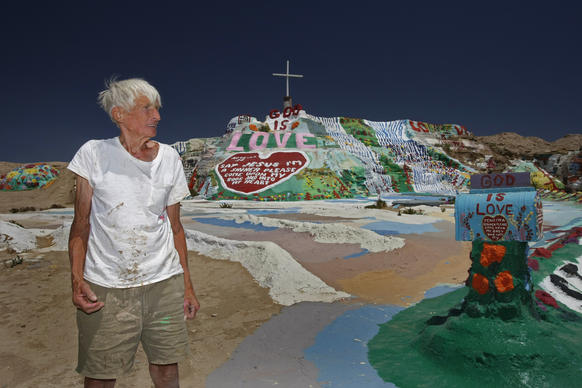 "Leonard Knight created Salvation Mountain near the Salton Sea. For decades he slept in his truck, happy to live without lights or running water. ""Love Jesus and keep it simple,"" he said."