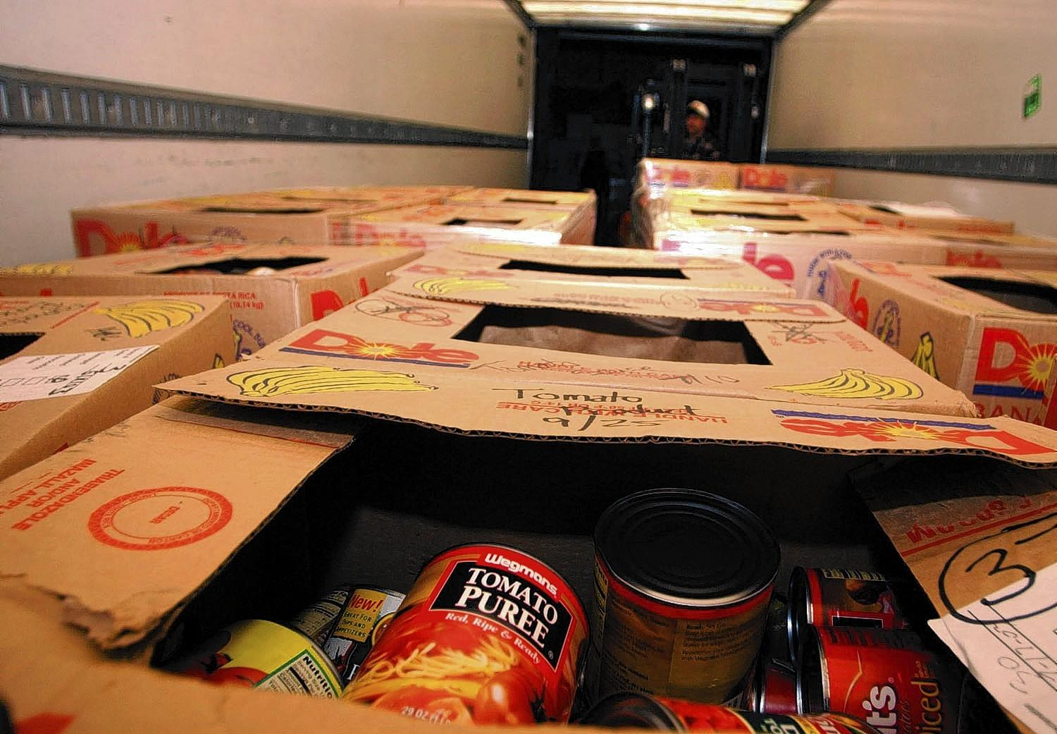 Food on a truck awaits to be unloaded at the Second Harvest Food Bank warehouse in Allentown in 2003.