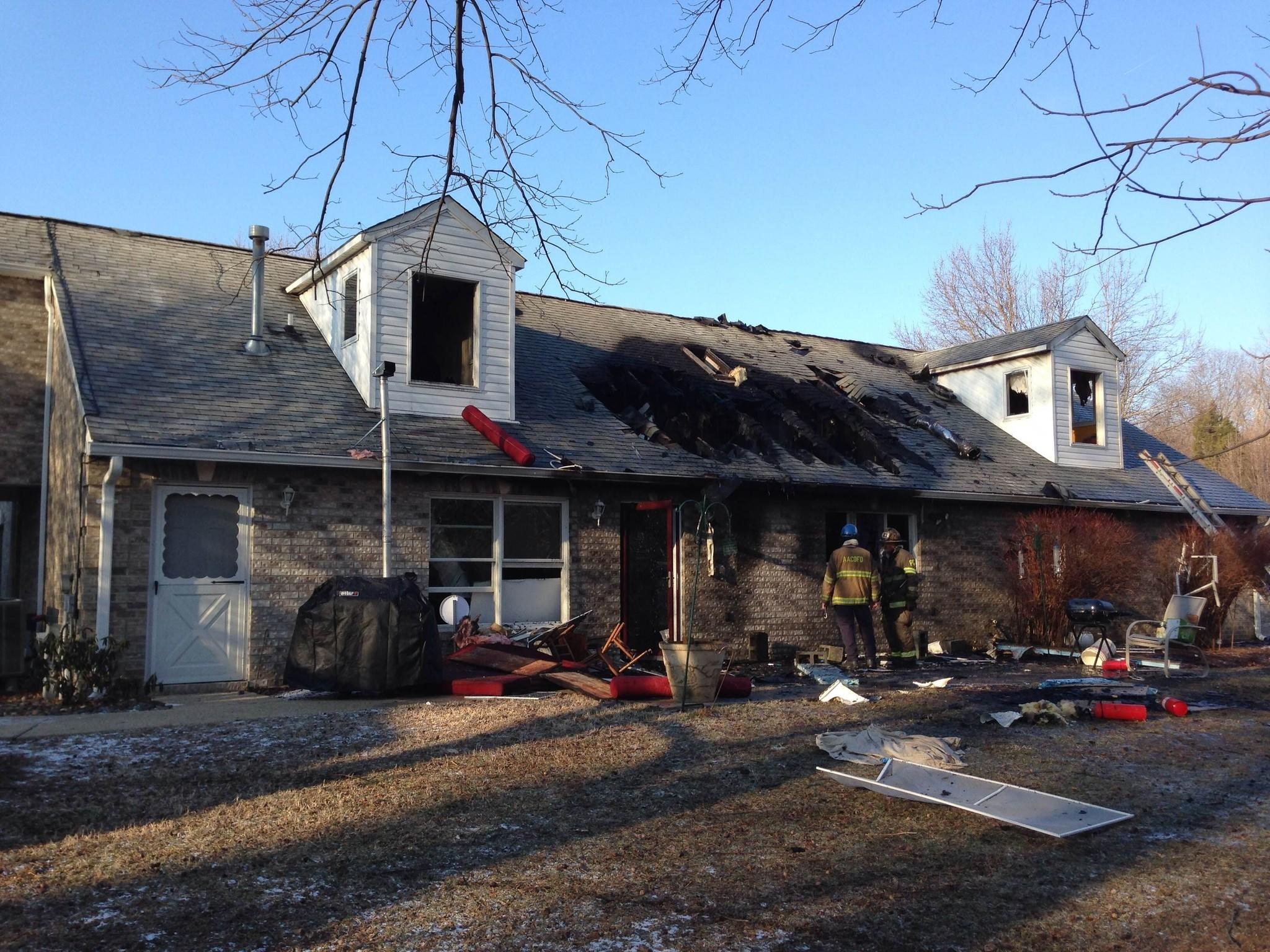 Anne Arundel County firefighters responded to a blaze Tuesday morning at a home on Meyers Station Road in Odenton.