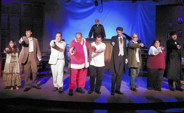 "The cast of ""Assassins,"" on stage at the Costa Mesa Playhouse."