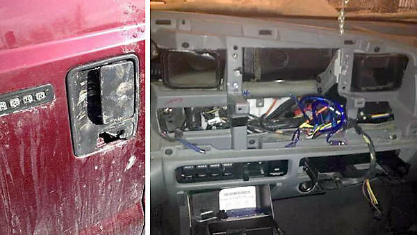 Damaged vehicles - a door lock, left, and stripped dashboard.