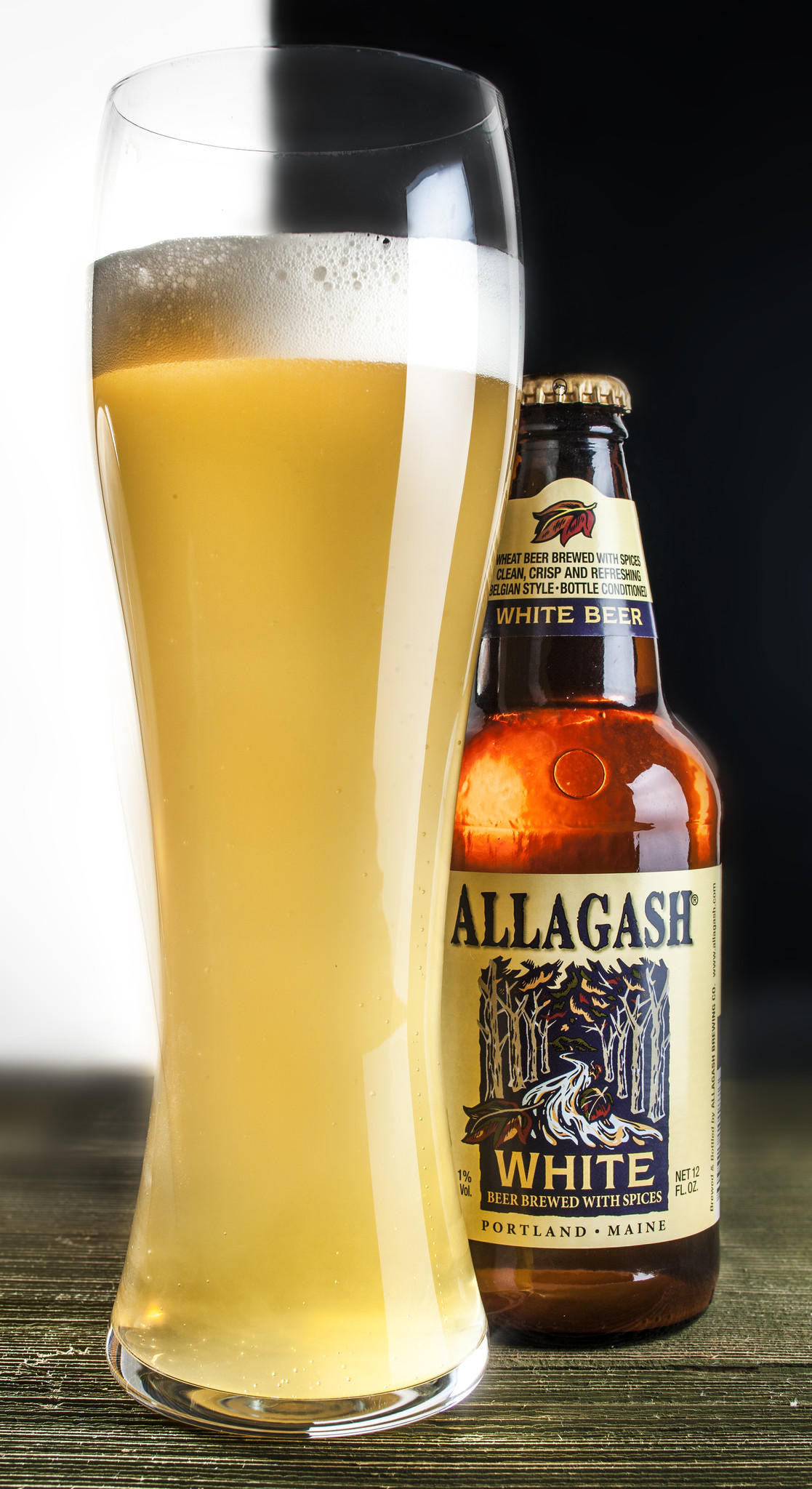 A bottle of Allagash White beer.