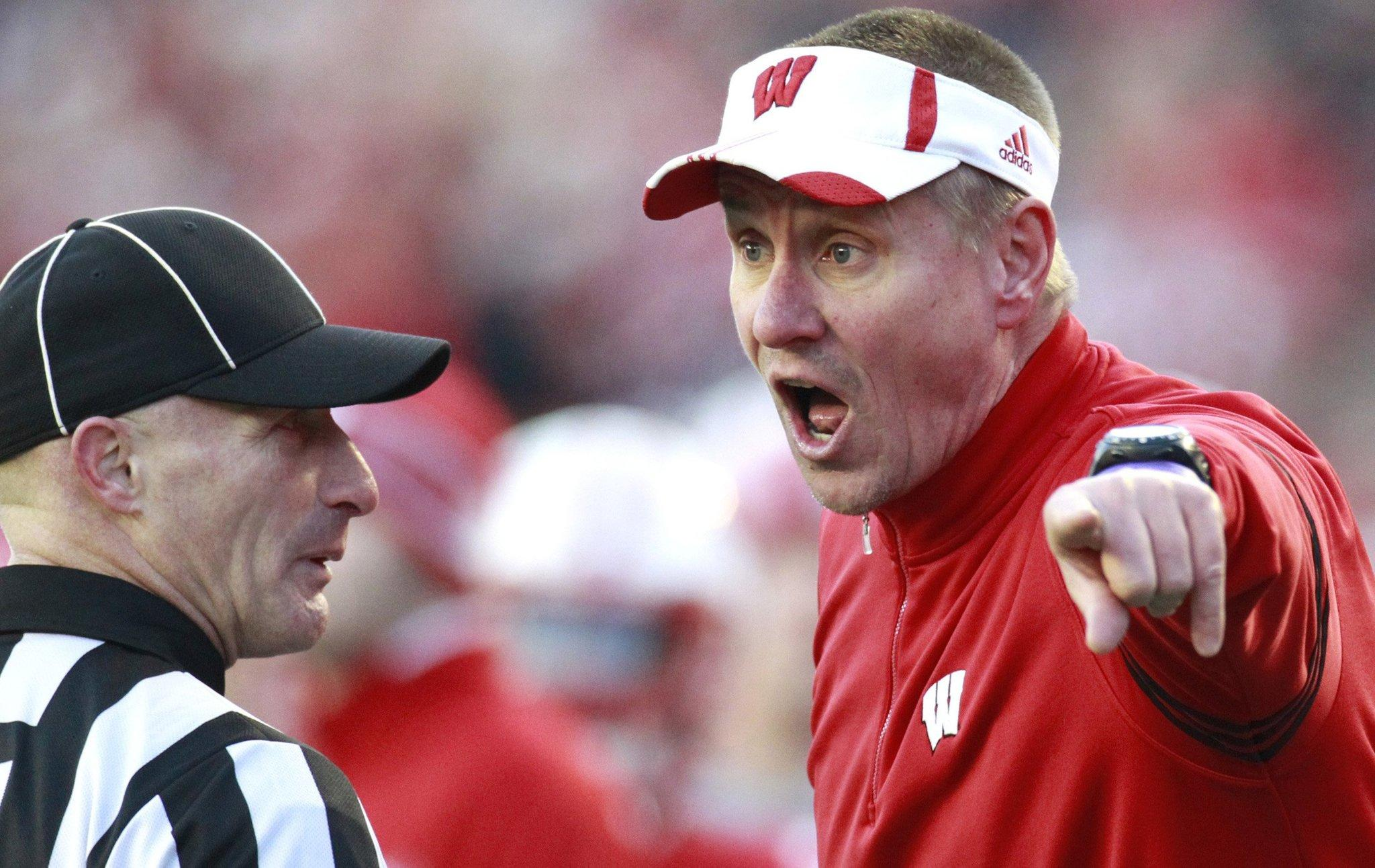 Wisconsin head coach Gary Andersen yells at officials after Penn State scored a touchdown during the second quarter on Saturday, Nov. 30, 2013, at Camp Randall Stadium in Madison, Wis. Penn State prevailed, 31-24.