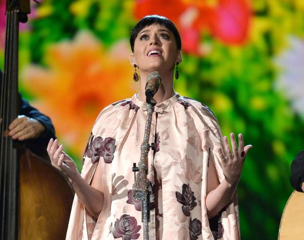 "Katy Perry performing during ""The Night That Changed America: A Grammy Salute to the Beatles"""