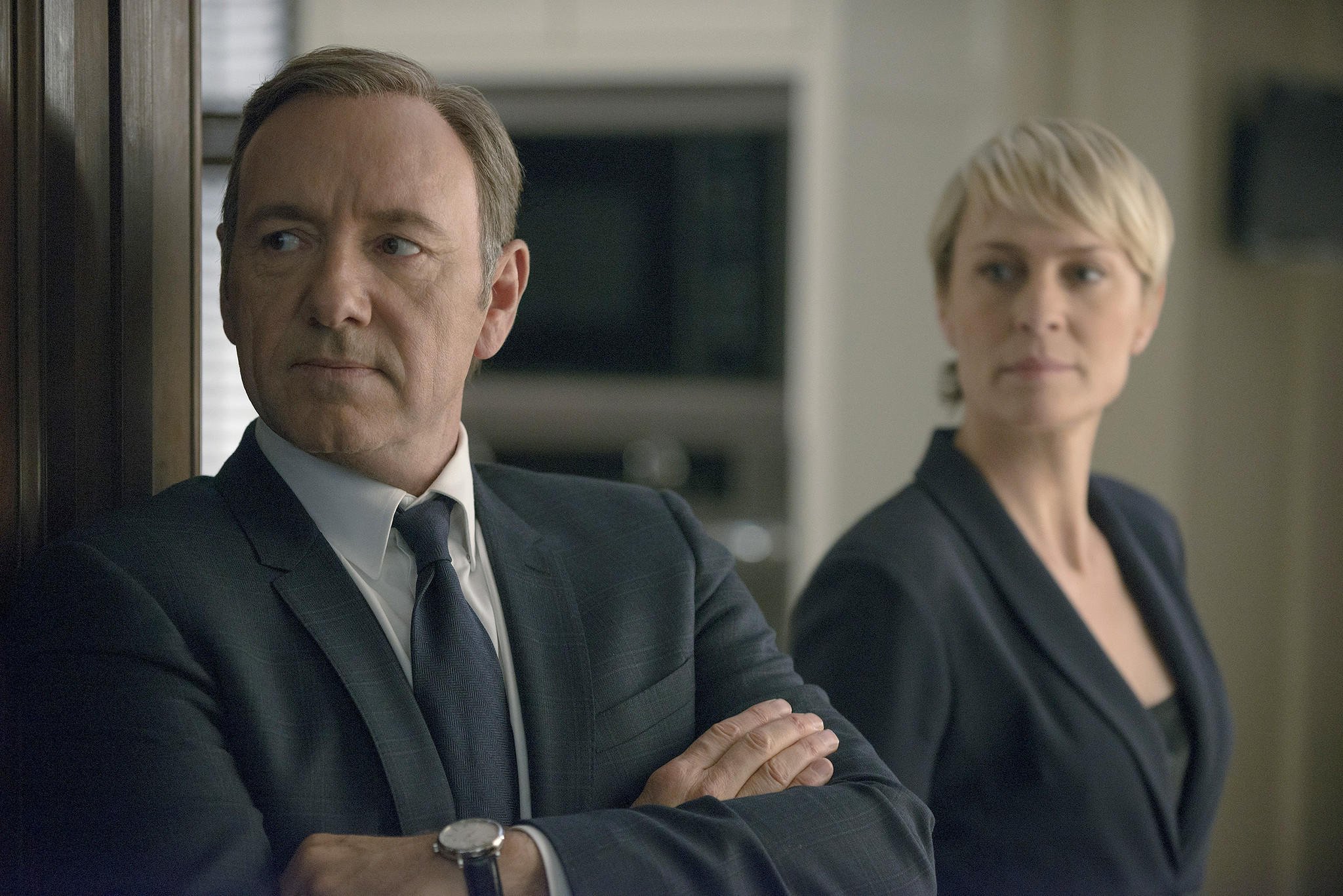 "Kevin Spacey as congressman Francis Underwood and Robin Wright as his wife and a similarly ruthless power player in season 2 of Netflix's ""House of Cards."" Nathaniel E. Bell/ Netflix"
